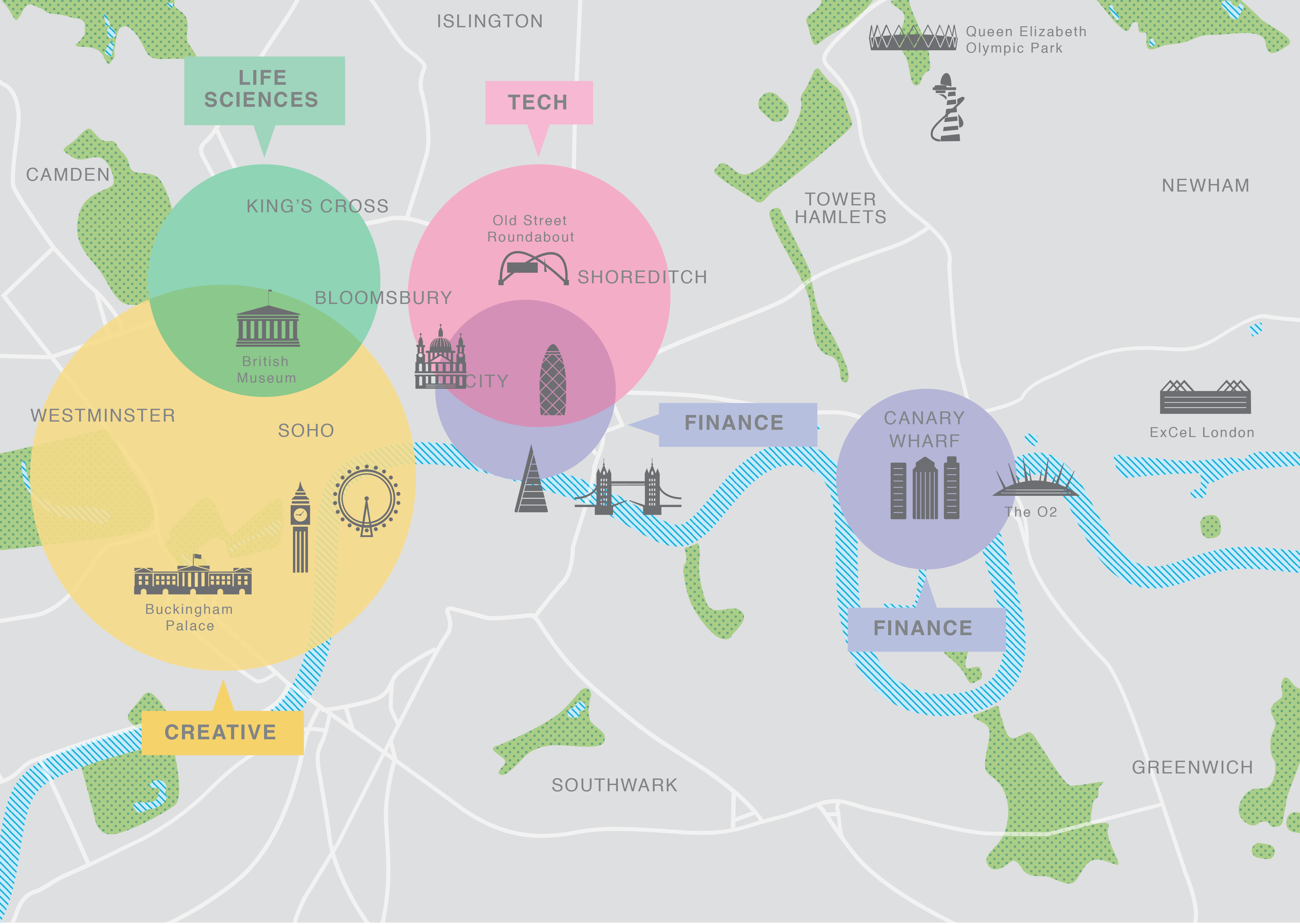 Map of London showing locations of the Technology, Finance, Creative, and Life Sciences sectors