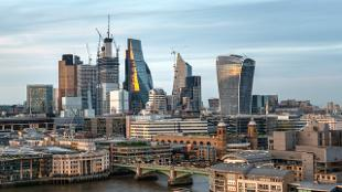City of London skyline with views of the district's skyscrapers.