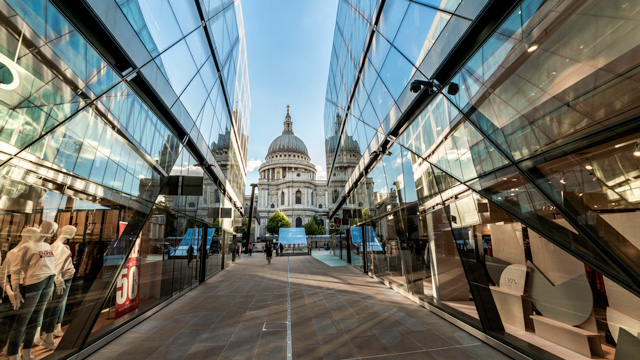 View of St Paul's Cathedral from One New Change shopping centre in the City of London.