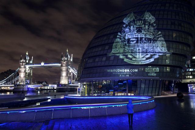 Guest of Honour projection image on City Hall