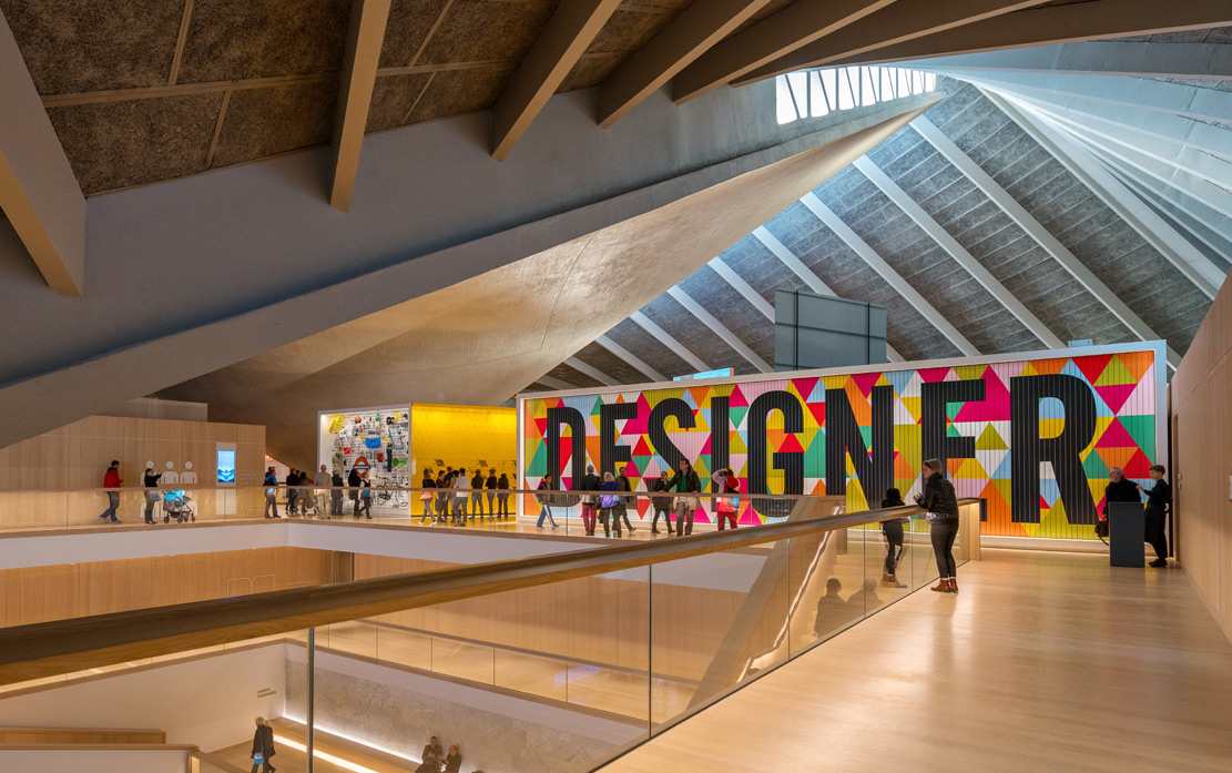 Visitors explore the inside of the Design Museum.