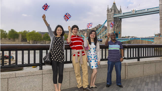 International students in front of tower bridge