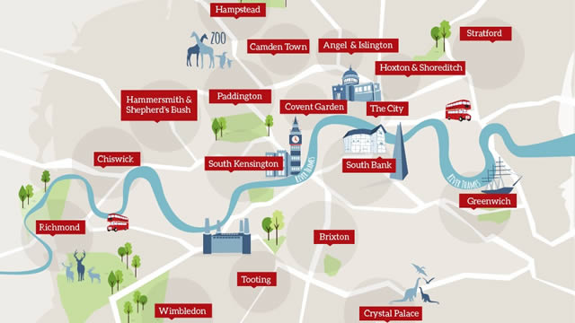 Map Of London With Famous Landmarks.London Areas Map Visitlondon Com