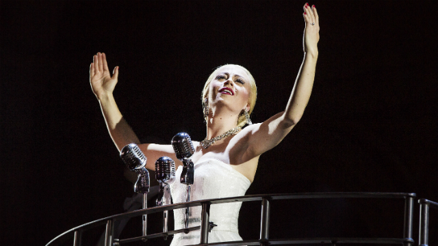 Emma Hatton stars in Evita at Phoenix Theatre. Pho