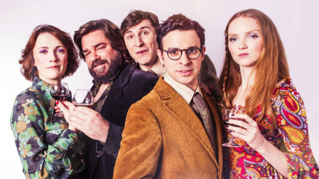 Charlotte Ritchie, Matt Berry, Tom Rosenthal, Simon Bird and Lily Cole in The Philanthropist. Photo: Shaun Webb